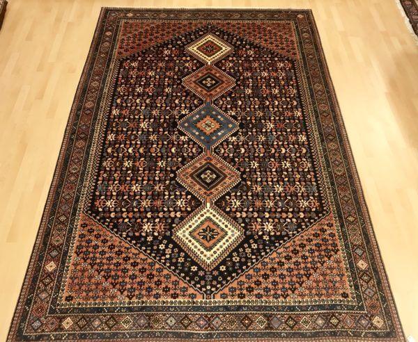Yalameh tæppe blå og laksefarvet