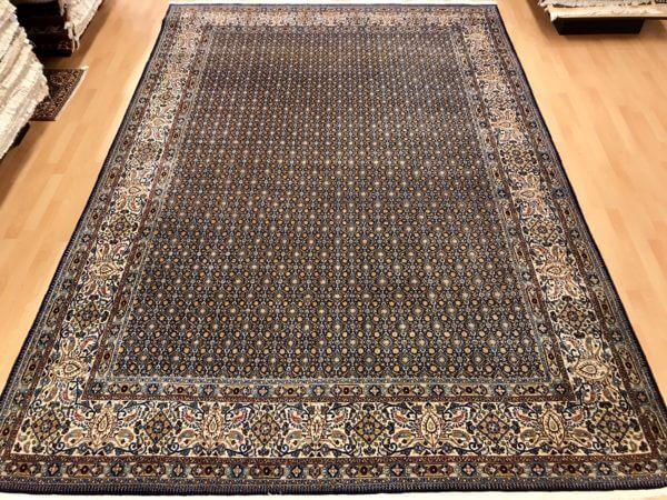 Blå Moud tæppe fra Iran 350 x 250