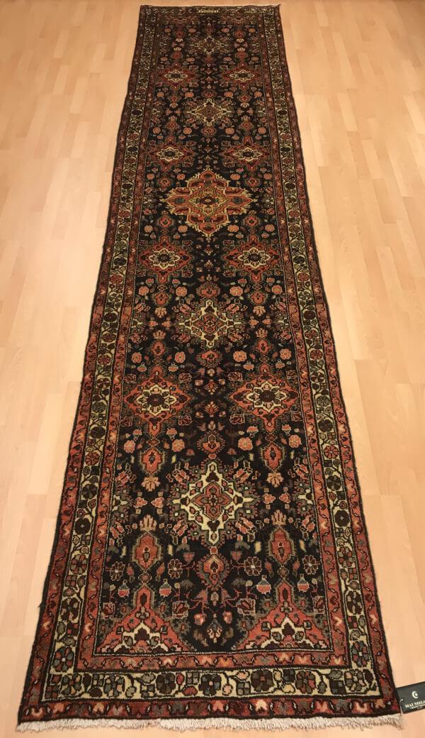 4 meter ægte tæppe løber i flot mønster