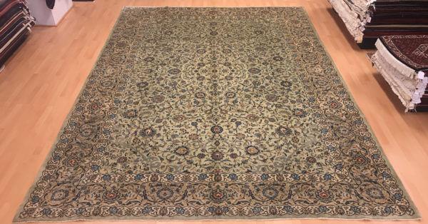Keshan tæppe 400 x 300 i grønne farver