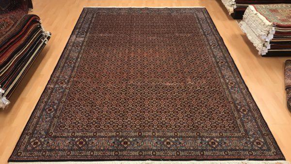 Persisk moud tæppe i blå farver